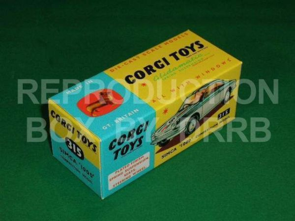 Corgi #315 Simca 1000 Competition - Reproduction Box